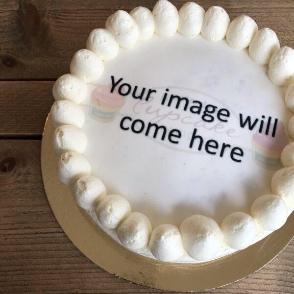 Taart met afbeelding, eetbare afbeelding op taart, taart met foto, cake with photo, fototaart, photo cake, order cake with image, order cake with print, taart met foto bestellen