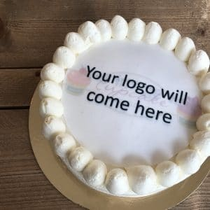 Taart met logo, logotaart, logo taart bestellen, cake with logo, cake with edible print, taart met eetbare print, taart logo Amsterdam, red velvettaart met logo, order cake with logo